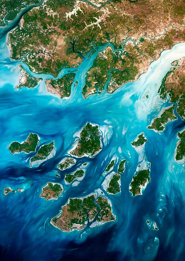 Mergui Archipelago In Myanmar Satelite View