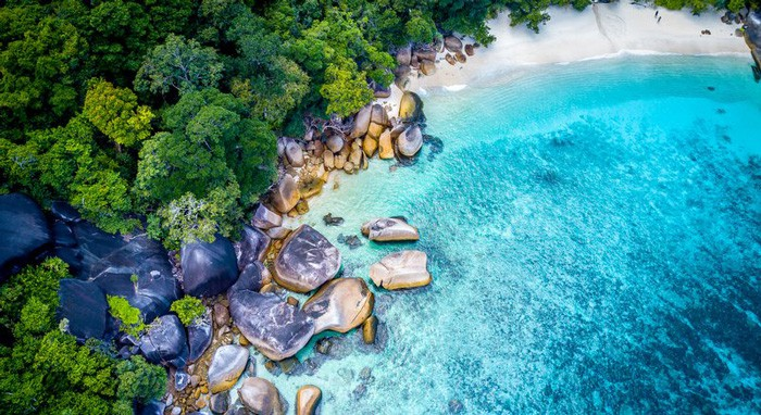 Mergui Archipelago White Sandy Beaches Air View